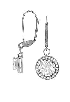 Belk Silverworks Everloved Fine Silver Plate Micro-Pave' Round Cubic Zirconia Drop Earrings