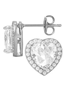 Belk Silverworks Everloved Fine Silver Plate Micro-Pave' Heart Cubic Zirconia Stud Earrings