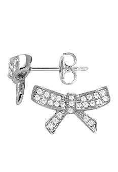 Belk Silverworks Fine Silver Plate Micro Pave Bow Stud Earrings
