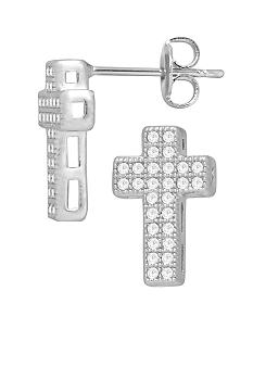 Belk Silverworks Everloved Fine Silver Plate Micro-Pave' Cubic Zirconia Cross Stud Earrings