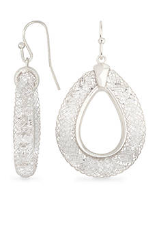 Belk Silverworks Fine Silver Plated Crystal Mesh Drop Earrings
