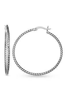 Belk Silverworks Fine Silver Plated Diamond Cut Hoop Earrings