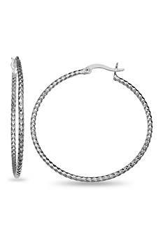 Belk Silverworks Fine Silver Plated Diamond Cut Hoop Earrings