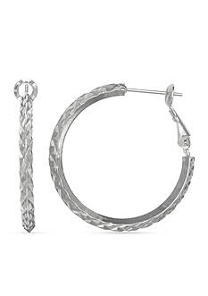 Belk Silverworks Fine Silver Plated Round Diamond Cut Paddle Back Hoop Earring