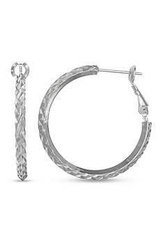 Belk Silverworks Fine Silver Plated Diamond Cut Paddle Back Hoop Earring