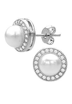Belk Silverworks Fine Silver Plated Round Pearl Stud Earrings