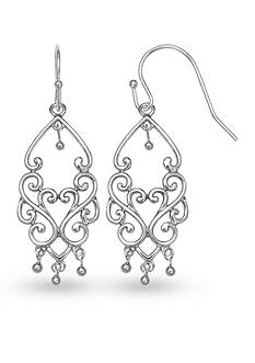 Belk Silverworks Fine Silver Plated Drop Filigree Earrings