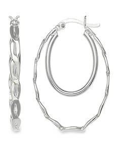 Belk Silverworks Fine Silver Plated Double Oval Polished Hoop Earrings