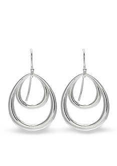 Belk Silverworks Fine Silver Plated Double Teardrop Polished Hoop Earrings