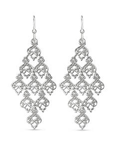 Belk Silverworks Ornate Filigree Kite Drop Earrings