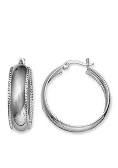 Belk Silverworks Round Twisted Rope Polished Hoop Earrings