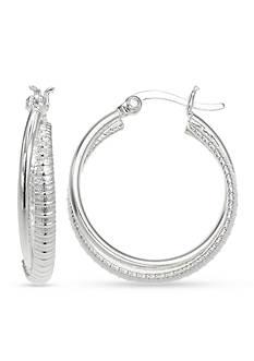 Belk Silverworks Detailed Polished Click Top Hoop Earring