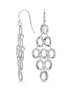 Belk Silverworks Fine Silver Plated Hammered Finish Oval Drop Earrings