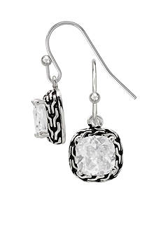 Belk Silverworks Fine Silver Plated Oxidized CZ Drop Earrings