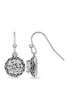 Belk Silverworks Round Oxidized Cubic Zirconia Drop Earrings