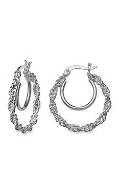 Belk Silverworks Twisted Double Hoop Earrings