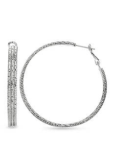 Belk Silverworks Fine Silver Plated Diamond Cut Round Hoop Earring