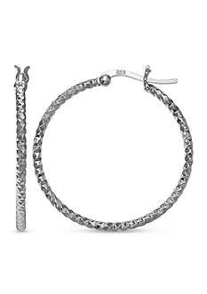 Belk Silverworks Fine Silver Plated 40-mm. Diamond Cut Hoop Earrings