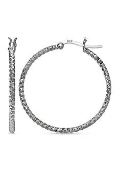 Belk Silverworks Fine Silver Plated 50-mm. Diamond Cut Hoop Earrings