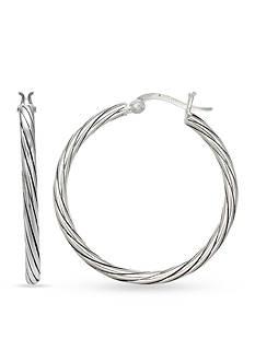 Belk Silverworks Fine Silver Plated 30-mm. Oxidized Twist Hoop Earrings