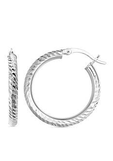 Belk Silverworks Fine Silver Plated 30-mm. Diamond Cut Hoop Earrings