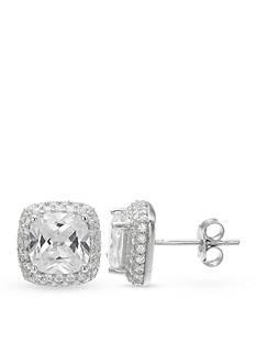 Belk Silverworks Fine Silver Plated Cubic Zirconia Cushion Stud Earrings