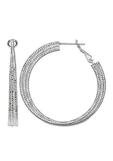 Belk Silverworks Fine Silver Plate 35-mm. Triple Diamond Cut Hoop Earrings