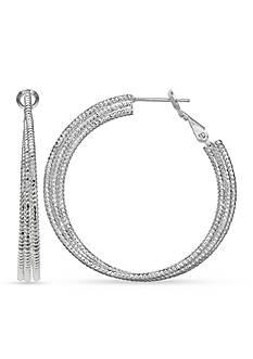 Belk Silverworks Fine Silver Plate Triple Diamond Cut Hoop Earrings