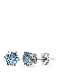 Belk Silverworks Silver-Tone Aqua Stud Earrings