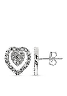 Belk Silverworks Double Heart Swarovski Crystal Stud Earrings