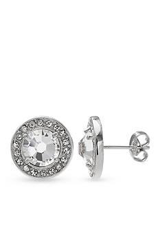 Belk Silverworks Fine Silver Plated Swarovski Crystal Round Stud Earrings