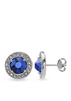 Belk Silverworks Fine Silver Plated Swarovski Crystal Sapphire Stud Earrings