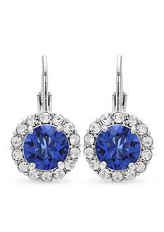 Belk Silverworks Fine Silver Plated Sapphire Swarovski Crystal Drop Earrings