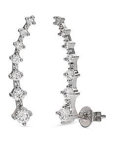 Belk Silverworks Fine Silver Plated Graduated Cubic Zirconia Crawler Earrings