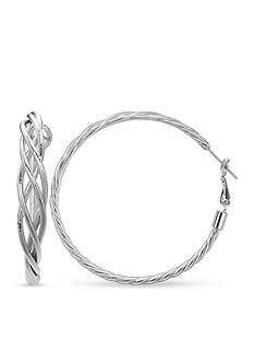 Belk Silverworks Fine Silver Plate Twisted Rope Hoop Earrings