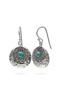 Belk Silverworks Silver-Tone Hammered Turquoise Drop Earrings