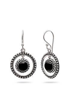 Belk Silverworks Silver-Tone and Onyx Circle Drop Earrings