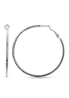 Belk Silverworks Silver-Tone Diamond Cut Hoop Earrings