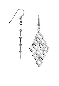 Belk Silverworks Fine Silver Plate Diamond Shape Drop Earrings