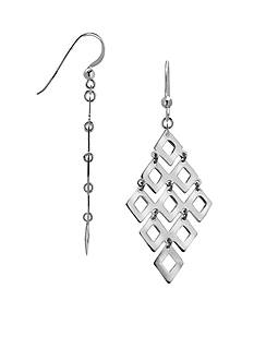 Belk Silverworks Fine Silver-Plated Diamond-Shaped Drop Earrings