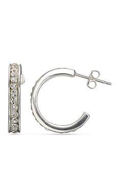 Belk Silverworks Fine Silver Plated Round Crystal Hoop Earring