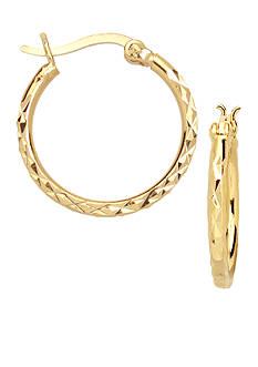 Belk Silverworks 24kt Over Fine Silver-Plated 25-mm. Round Diamond Cut Hoop Earrings