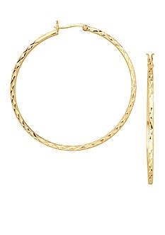 Belk Silverworks 24kt Over Fine Silver-Plated 35-mm. Round Diamond Cut Hoop Earrings
