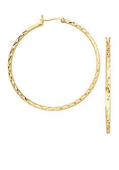 Belk Silverworks 24kt Over Fine Silver-Plated 45-mm. Round Diamond Cut Hoop Earrings