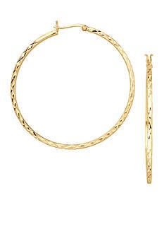 Belk Silverworks 24k Over Fine Silver-Plated 55-mm. Round Diamond Cut Hoop Earrings