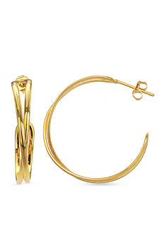 Belk Silverworks 24k Gold Over Fine Silver-Plated Crossover Hoop Earrings
