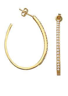Belk Silverworks 24kt Over Fine Silver-Plated Cubic Zirconia Oval Hoop Earrings