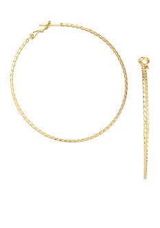 Belk Silverworks 24kt Gold Over Fine Silver-Plated 30-mm. Round Twisted Diamond Cut Hoop Earrings