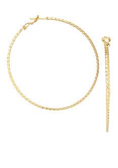 Belk Silverworks 24k Over Fine Silver-Plated 50-mm. Round Twist Diamond-Cut Hoop Earrings