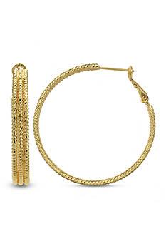 Belk Silverworks 24k Gold Over Fine Silver-Plated 30-mm. Triple Row Hoop Earrings